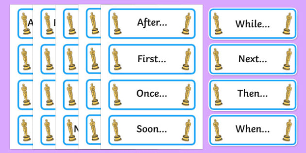 Oscar Worthy Openers Word Cards - sentence starters, literacy, spag, big writing, adjectives, adverbs, clauses, ks1,