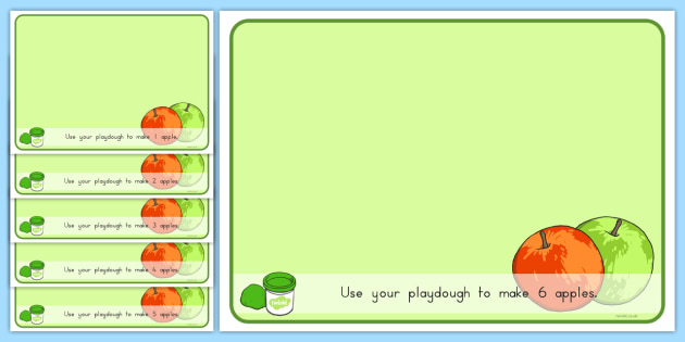 Basic Counting Apples Playdough Mats -  maths, early years, numbers, modelling, fruit, materials, early years, ks1