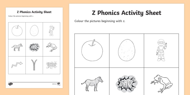 z Phonics Colouring Worksheet / Activity Sheet - Republic of Ireland,  Phonics Resources, z sound, phonics assessment, sounding out, initial sounds,