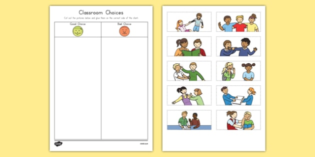 Classroom Choices Cutting Skills Worksheet / Activity Sheet, worksheet