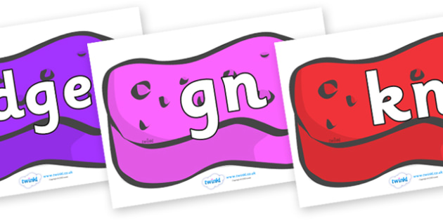 Silent Letters on Sponges (Multicolour) - Silent Letters, silent letter, letter blend, consonant, consonants, digraph, trigraph, A-Z letters, literacy, alphabet, letters, alternative sounds