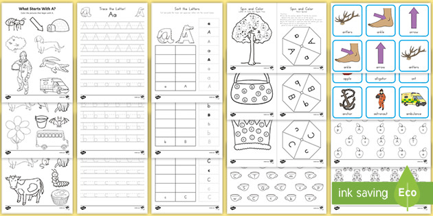 A-Z Alphabet Letters: Worksheet And Activity Pack - ELA
