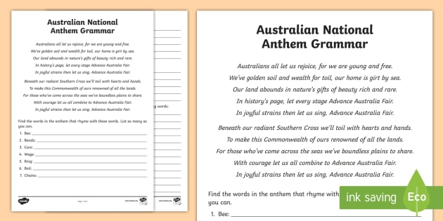 australian national anthem grammar worksheet worksheet australia. Black Bedroom Furniture Sets. Home Design Ideas