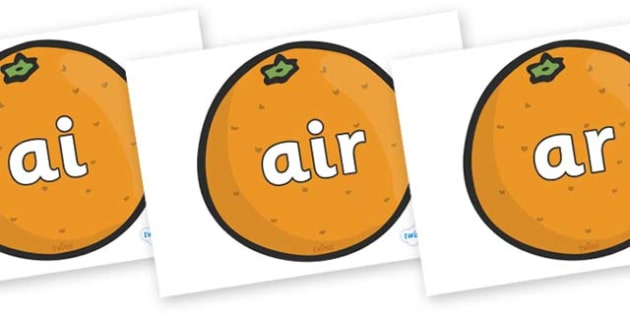 Phase 3 Phonemes on Oranges - Phonemes, phoneme, Phase 3, Phase three, Foundation, Literacy, Letters and Sounds, DfES, display