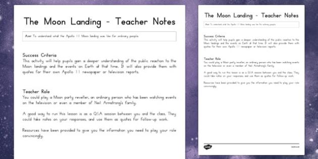 The Moon Landing Teacher Notes - australia, moon landing, teacher notes