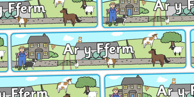 On The Farm Display Banner (Welsh) - on the farm, cow, pig, sheep, farm, Welsh, display, banner, sign, poster, Wales, Welsh resources,cymru
