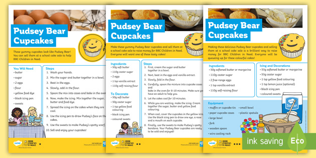 KS1 Pudsey Bear Cupcake Recipe: BBC Children in Need Differentiated Reading Comprehension Activity
