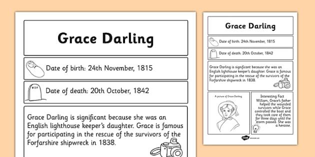 Grace Darling Significant Individual Fact Sheet - fact, sheet