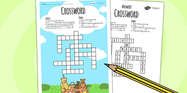 Teddy Bears Picnic Crossword - teddy, bears, games, word games
