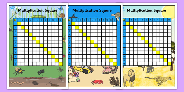 Multiplication Squares 12x12 Multiplication Grid Multiply