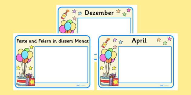 Festivals and Celebrations Calendar Posters German - german, Calendar, festival, dates, celebration, display, posters, xmas, easter, christmas, holiday