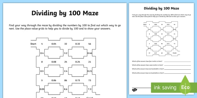dividing by 100 worksheet activity sheet dividing dividing. Black Bedroom Furniture Sets. Home Design Ideas