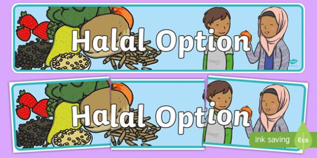 Halal Option Display Banner - halal option, role play, eating out, eat, display banner, display, banner