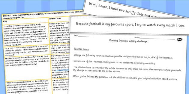 Y3 and Y4 Write Simple Sentences from Memory Teaching Ideas