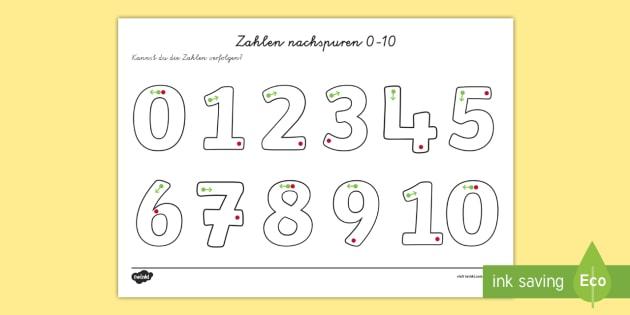 Zahlen schreiben 0 10 Arbeitsblatt Erstes Schreiben: Zahlen
