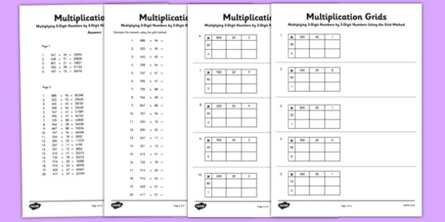 Multiplying 3 Digit Numbers by 2 Digit Numbers Using Grid ...