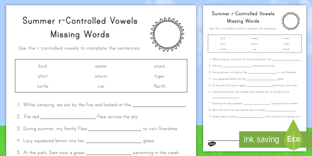 Summer r-Controlled Vowels Worksheet / Activity Sheet - summer summer season first