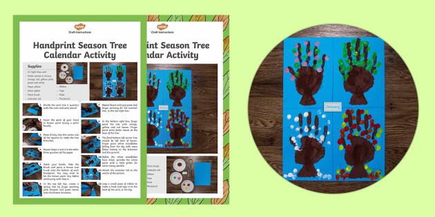 Handprint Seasons Tree Calendar Activity - Christmas, Nativity, Jesus, xmas, Xmas, Father Christmas, Santa, painting, hand prints, craft, gift, christmas calendar