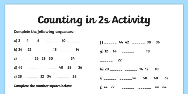 picture about Printable Counting Worksheets titled Counting inside of 2s Worksheet - counting, worksheet, 2, figures, math
