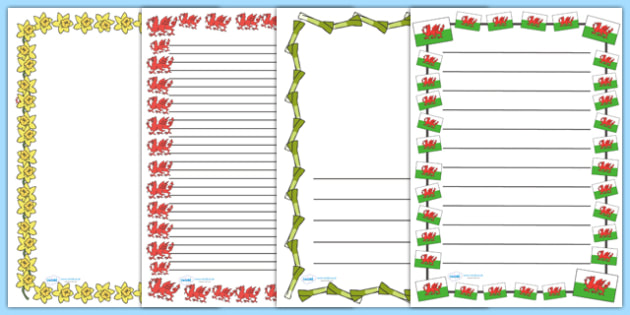 St David's Day Page Borders - Page border, a4 border, template, writing aid, writing border, page template, Dewi sant, St David, daffodil, Wales, cymru, leek, parade, patron saint