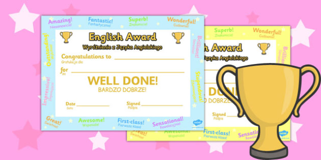 English Award Certificate Polish Translation - polish, award