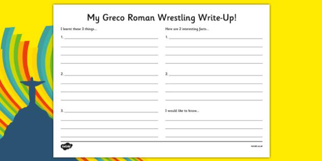 Rio 2016 Olympics Greco Roman Wrestling Write Up Worksheet - rio 2016, rio olympics, 2016 olympics, greco, roman, wrestling, write up, worksheet