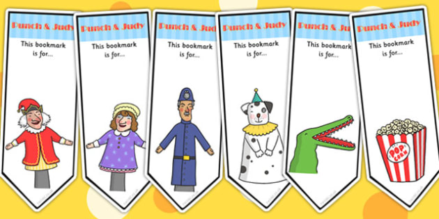 Punch and Judy Editable Bookmarks - reading, award, books, read