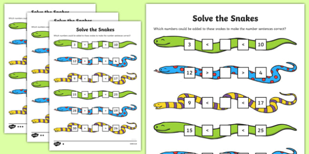 Solve the Snakes Maths Activity Sheet Pack, worksheet