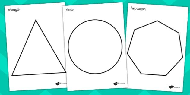 A4 2D Shape Colouring Posters - A4 2D shapes, colouring posters, 2D shape posters, 2D shape colouring posters, 2D shapes