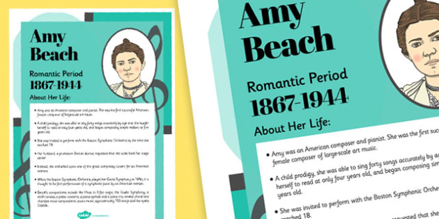 Amy Beach Composer Display Poster - music, female, composers, amy beach