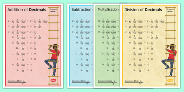 Calculation Clinic Progress Ladder Posters Decimals - KS3, KS4, GCSE, Maths, calculation, addition, subtraction, multiplication, division, low ability, practise, assessment