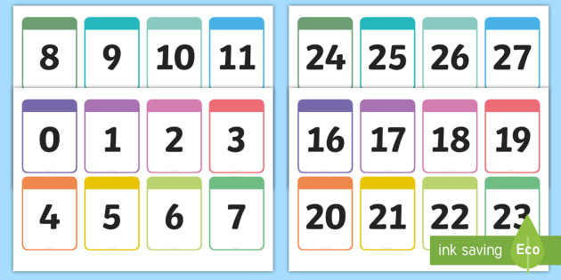 Number Cards 0-30 Printable Number Cards