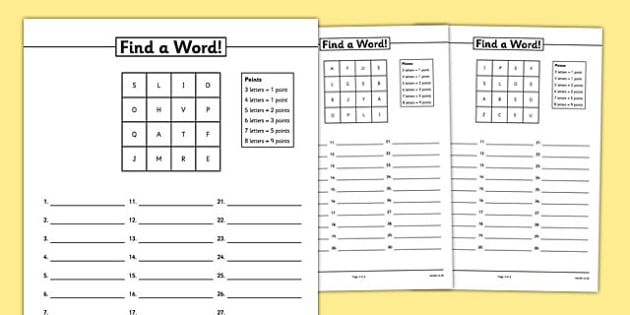 Find A Word Worksheet / Activity Sheet Pack - boggle, find a word, word game, worksheet