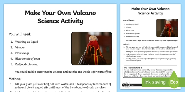 Make Your Own Volcano Science Activity - make your own, volcano, science, activity, experiment