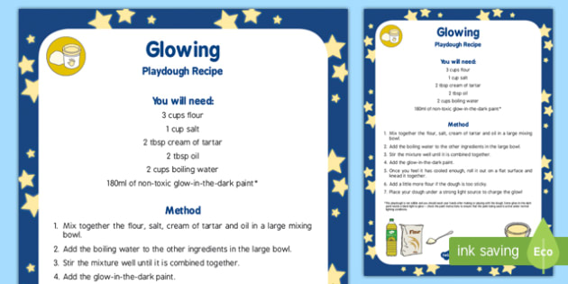 Glowing Playdough Recipe