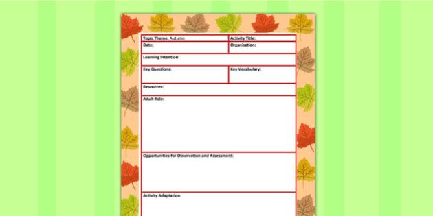 Autumn Themed Adult Led Focus Planning Template - seasons, plan