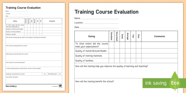 Sen Training Course Evaluation Form  Senco Secondary
