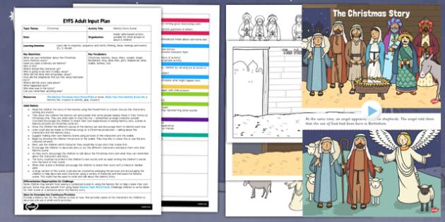 Nativity Story Scene EYFS Adult Input Plan and Resource Pack - nativity, story, scene, nativity story, nativity scene