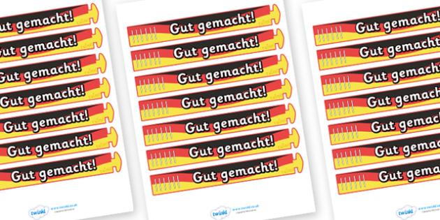Wristband Awards (German) - German, Germany, well done, wristband, band, award, reward, award, certificate, medal, rewards, school reward, MFL, Modern Foreign Languages, foundation, languages