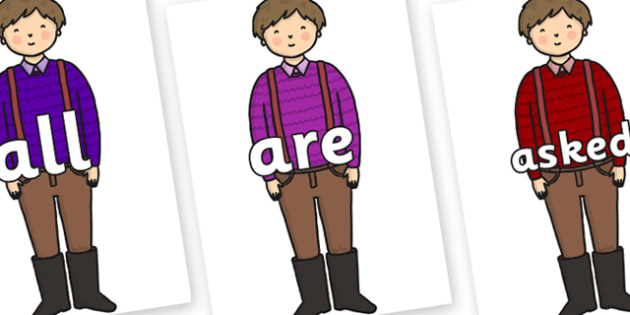 Tricky Words on Rapunzels Father - Tricky words, DfES Letters and Sounds, Letters and sounds, display, words