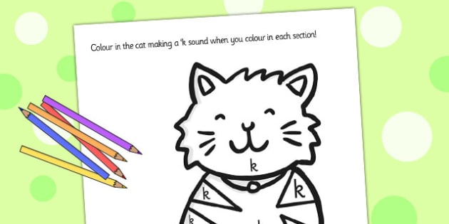 k Sound Production Cat Colouring Sheet - k sound, colouring, cat