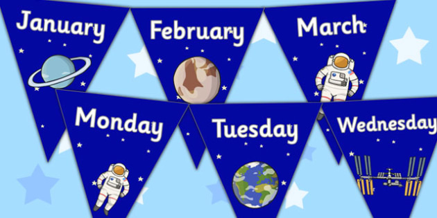 Space Themed Days and Months Bunting - space, bunting, days