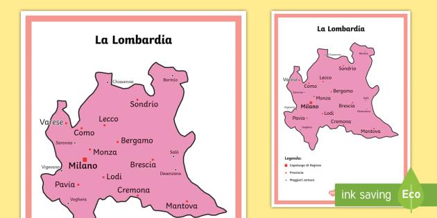 Cartina Italia Politica Lombardia.Scuola Primaria La Lombardia Cartina Politica Italia