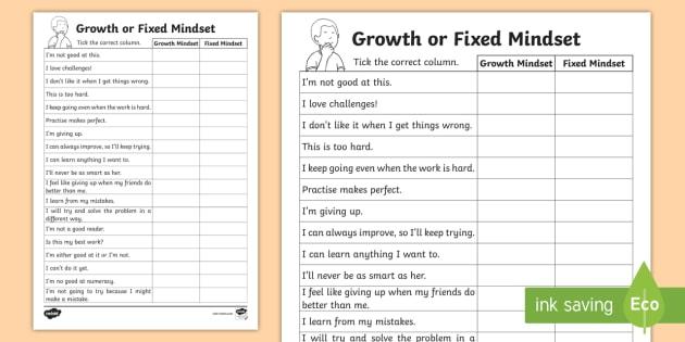 Ks1 Growth Or Fixed Mindset Sorting Worksheet Worksheet Carol Dweck