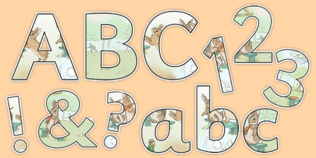 Beatrix Potter - The Story of a Fierce Bad Rabbit Themed Display Letters and Numbers - beatrix potter, fierce, bad, rabbit