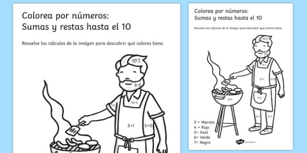 Colorea por números: Sumas y restas hasta el 10 Summer Colour by Number Addition and Subtraction Up to 10 Spanish - 10, +, substraction, adition, coloyur by number, suntraction, subraction, additon, subtrction, sutraction, summertime, Timw, subrtacti