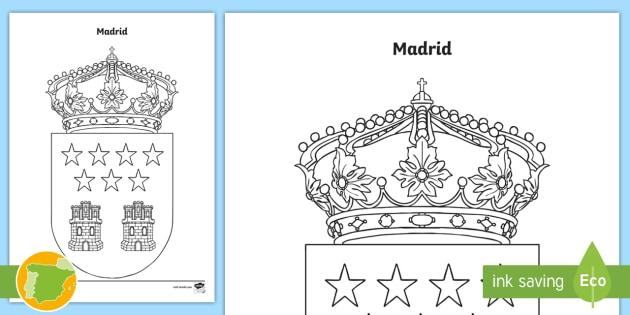Hoja de colorear: El escudo de la comunidad de Madrid - Mapas