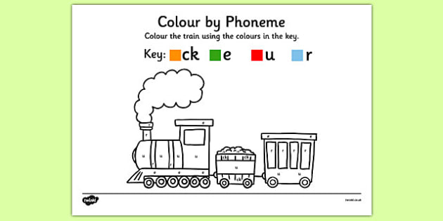 Colour by Phoneme Train Phase 2 ck e u r - colour, phonemes, train, phase 2, satpin