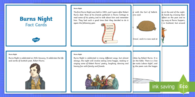 Burns Night Fact Cards - Scottish, Scotland, significant individuals, Robert Burns, National Poet, Burns Supper, Burns Night,