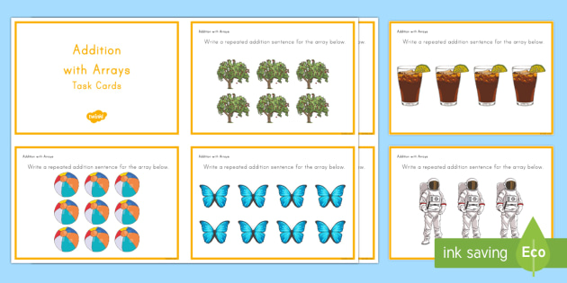Addition with Arrays Task Cards - Common Core Second Grade Math Task Cards, CC 2.OA.C.4